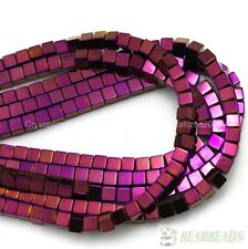 Hematite Gemstone Square Cube Beads 16'' Metallic Silver Gold Multi-Colored