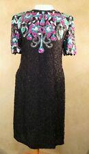 Lawrence Kazar exquisite beaded sequin silk dress M