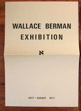 WALLACE BERMAN Exhibition Catalog Timothea Stewart Gallery 1977 George Herms