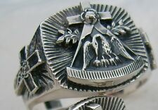 MASIV SILVER MASONIC   ROSE-CROIX  Ring