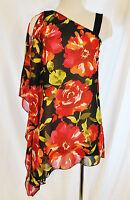 BoHo Chic Red Rose Sheer Flowy Asymmetrical Dressy Blouse Shirt Top S