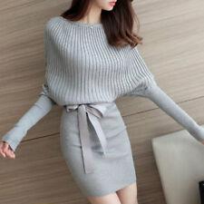 Knitted Jumper Dress Long Sleeve Bodycon Sweater Batwing Pullover Belt Knitwear