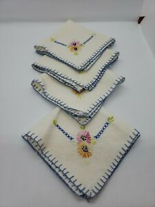 Handmade Handkerchiefs Quantity of 4 White Cross Stitched Embroidered Vintage