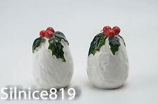 Lefton White Holly Berries Salt Pepper Shakers 6061