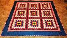 New listing Vintage Handmade Quilt 87 x 85 Red Navy Yellow Very Clean.