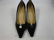 "Ellen Tracy"" Blossom"" Black Satin Women size 10  Heels with rhinestones."