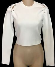 Proenza Schouler White Crop Top Long Sleeve Stretchy Lace Up Shoulders Sz-XS
