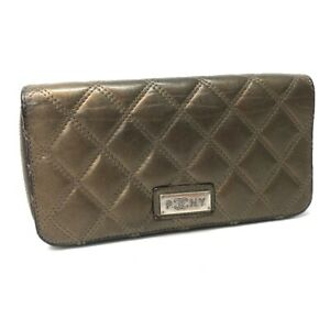 CHANEL A32481 Quilted Stitch Paris New York Zip Around Long Wallet