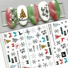 Nail Art Stickers Decals Christmas Tree Snowflakes Stars Bows Reindeer (F801)