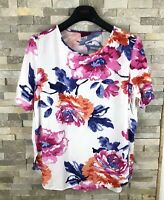 Joules Ladies Size 14 Floral White Pink T Shirt Top
