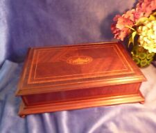 More details for edwardian georgian sheraton style box, large, marquetry, flame mahogany