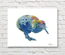 "Blue Kiwi Bird Abstract Watercolor 11"" x 14"" Art Print by Artist DJ Rogers"