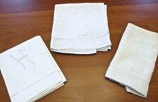 Vintage Lot of 3 Linen Hand Towels Embossed Hemstitched Monogramed