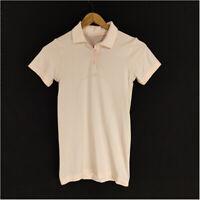 Lululemon Swiftly Speed Polo Shirt Top Pale Peach Women 4 Shorts Sleeve Button