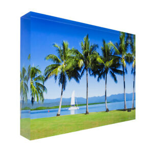 Sailing boat and palm trees on Great Barrier Reef Acrylic Block Photo Print 1136