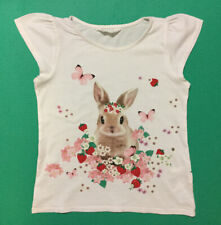 'H&M' GIRL's White Bunny Short-Sleeve Cotton T-SHIRT - Size: 8-10Y (134-140 EUR)