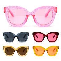 Child Size Girls Thick Glitter Plastic Horn Rim Retro Sunglasses