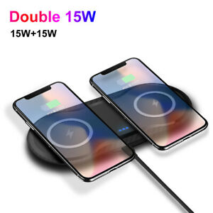 US 30W Qi Wireless Charger Pad Dual 15W Fast Charging Mat For iPhone 12Pro 11 XS