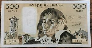 Billet 500 francs PASCAL 2 - 2 - 1989 FRANCE Q.289