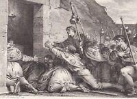 Gravure XVIIIe Fondation Royaume De Jérusalem 1099 Godefroy de Bouillon 1795