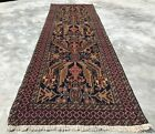 Authentic Hand Knotted Afghan Vintage Zakani Balouch Wool Area Runner 9 x 3 Ft
