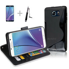 BLACK Wallet 4in1 Accessory Bundle Kit S TPU Case Cover F Samsung Galaxy Note 5