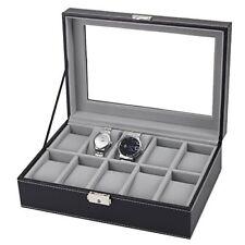 10 Slots Leather Watch Display Case Jewelry Collection Storage Organizer Box BK
