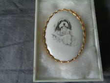 More details for bearded collie dog oval ceramic brooch in yellow metal frame - pre-loved in box
