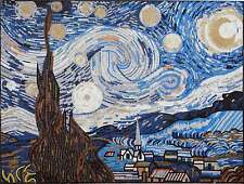 "64""x 48"" Starry Night Vincent Van Gogh Handmade Marble Mosaic Art Stone"