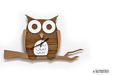 Owl sitting on twig - Wooden and Acrylic Wall Clock - Kids Nursery Room