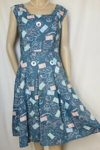 Laura Ashley Kleid 40 42 blau weiß maritim Leinenkleid Segelboote Anker Sommer