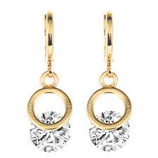 Women 18K Gold Plated Circle White Round CZ Cubic Zirconia Drop Dangle Earrings