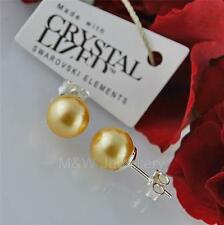STUDS EARRINGS CRYSTALS FROM SWAROVSKI® PEARL GOLD 8mm STERLING SILVER 925