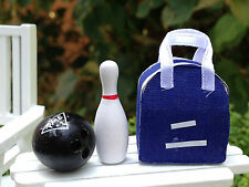 Miniature Dollhouse FAIRY GARDEN Accessories ~ Bowling Bag with Pin & Ball ~ NEW