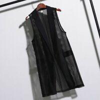 Plus Size Lady Long Waistcoat Mesh Sleeveless Coat Jacket Vests Cardigans Casual