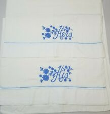 Vintage Hand Embroidered Pillow Case Set of 2 HIS & HERS Pillowcases Blue Floral