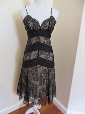 Sexy BCBG MAXAZRIA Black 100% Silk Lace Slip Formal Party Dress - 2 4
