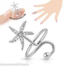 TJS Starfish Midi Ring Adjustable Rhodium PL Brass Toe Finger Knuckle Wrap CZ