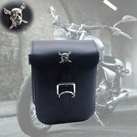 Universal Motorcycle Bike Leather Side Bag Tool Luggage Saddlebag Storage Black