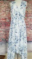 Calvin Klein Blue/White Floral Print Chiffon Hi-Lo Midi Maxi Dress Flowy- Size10