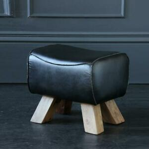 Pommel Horse Low Stool Black Leather Seat with Natural Wooden Legs