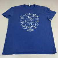Harley Davidson T-shirt Mens XXL Bud's Evansville IN Blue Short Sleeve