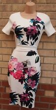 AX PARIS WHITE PINK BLUE FLORAL TROPICAL BANDAGE BODYCON TIGHT TUBE DRESS 8 S