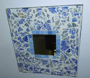 LARGE SQUARE MOSAIC MIRROR BLUE JOUY CANVAS ARTIST NATHALIE BLEUZEN