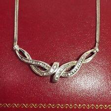 Sterling Silver 1/3 Carat Ct Diamond Baguette Cluster Chevron Wedding Necklace