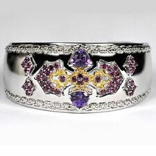 Sterling Silver Genuine Garnet Amethyst Womens Cuff Bangle Bracelet 7 Inches