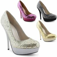 Womens Platform Stiletto Heels Ladies Bridal Evening Party Court Shoes Size 3-8