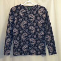 Lauren Ralph Lauren Top T-Shirt Women's Medium Blue Paisley Long Sleeve