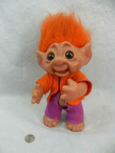 "Vtg THOMAS DAM 9"" TROLL Doll Movable Arm Orange Felt Jacket Pants Denmark 604"