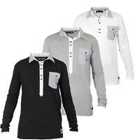 Daniel Christian Mens Long Sleeved Polo Shirt Plain Top Collared Smart Tshirt